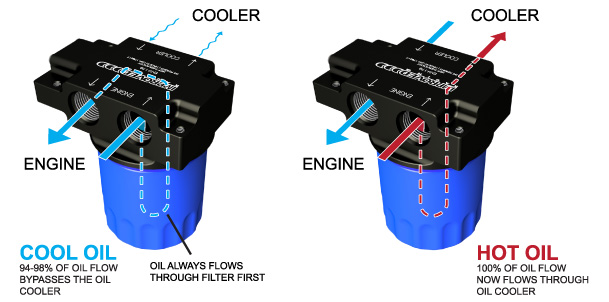 Remote oil filter mount with thermostat